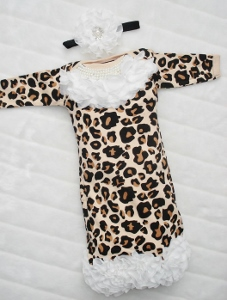Leopard Print Chiffon Pearl Collar Newborn Layette Gown & Matching Headband Set-newborn gown, newborn couture, newborn boutique, infant, baby, girl, layette, pearls, chiffon, take home gown, take me home, hospital, fancy, animal, print, holiday, christmas