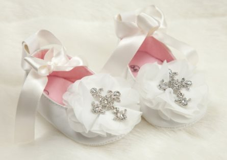 Baby Girl Off White Rhinestone Cross Ribbon Tie Shoes-bling, rhinestone, cross, christening, dedication, baptism, newborn, infant, baby, girl, flower, boutique, crib shoes, shoes, white