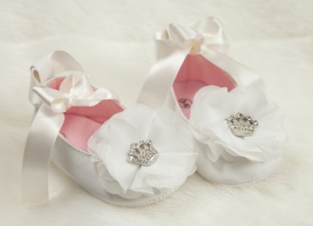 Rhinestone Crown Chiffon Flower  Baby Girl Ribbon Tie Shoes-pink, off white, crown, rhinestone, shoes, dressy, princess, couture, tiara, newborn, baby, girl, boutique, crib shoes