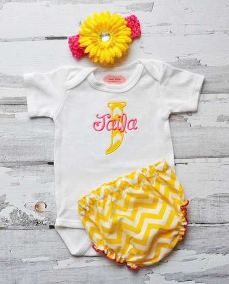 Hot Pink & Yellow Chevron 3pc. Outfit Set-yellow, hot pink, chevron, personalized, custom, boutique, clothing, outfit, set, newborn, infant, baby, girl, summer, bright