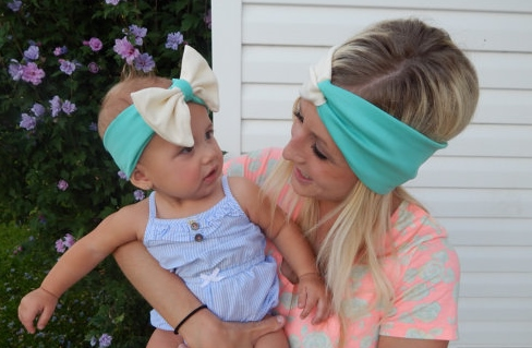 "Cream & Mint ""Mommy & Me"" 2-Toned Messy Bow Headband Set-aqua, blue, cream, ivory, mommy and me, infant, baby, girl, toddler, mommy, messy, hair, bow, headband, set, newborn"