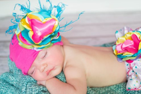 Rainbow Dots Flower Hat & Bloomer Set-yellow, orange, hot, pink, turquoise, blue, green, curly, ostrich, feathers, hat, flower, diaper cover, bloomer, bloomers, set, infant, toddler, polka, dots, ruffle