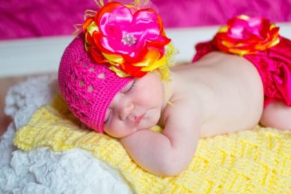 Summer Sunset Flower Hat & Bloomer Set-hot, shocking, pink, and, yellow, orange, diaper cover, bloomer, bloomers, headband, glower, set, ruffle, curly, ostrich, feathers