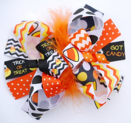 Trick or Treat Loopy Halloween Boutique Hair Bow-halloween, boutique, hair, bow, chevron, orange, black, yellow, polka, dots, candy corn