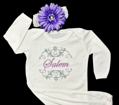 Posh White & Purple Custom Monogram Take Me Home Newborn Gown & Headband Set-lavender, purple, flower, headband, newborn, take home, take me home, layette, sack, sac, gown, infant, baby, girl, hospital gown, outfit, set, boutique