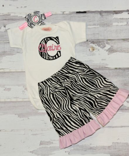 Light Pink & Zebra 3pc. Outfit Pants Set-boutique, clothing, outfit, set, infant, baby, girl, newborn, personalized, baby girls clothes, zebra, animal, print