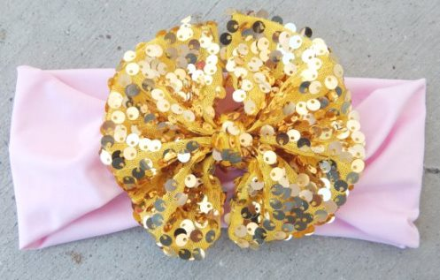 Gold Sequin & Light Pink Messy Bow Head Wrap-gold, sequin, light, pink, and, headwrap, messy, bow, headband, sparkle, infant, baby, big, girl
