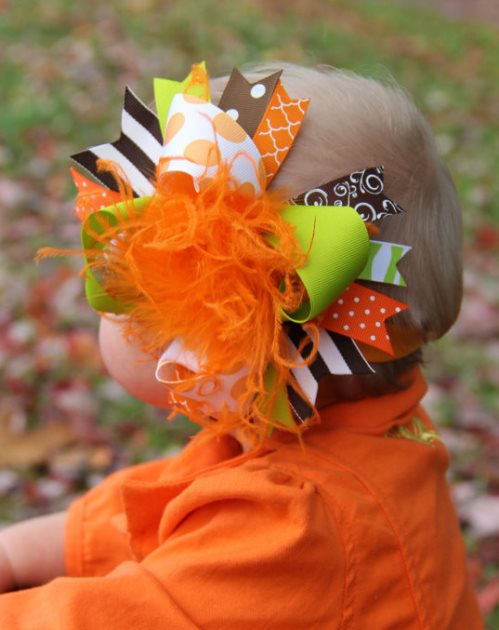 Orange Brown & Lime Fall Over the Top Hair Bow Headband-lime, green, brown, fall, hairbow, bow, headband, infant, baby, girl, thanksgiving, orange
