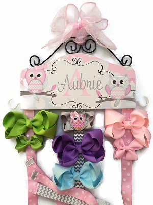 Owl Pink & Gray Chevron Personalized Hair Bow Holder-light, pink, and, grey, gray, owl, owls, hairbow, hair, bow, holder, hanger, chevron, polka, dots, personalized