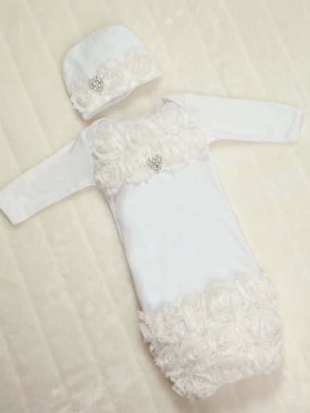 White Cotton Baby Gown with Off White Shabby Chiffon Flowers & Rhinestone Heart Outfit Set-off white, white, rosette, christening, baptism, dedication, infant, baby, girl, newborn, boutique, layette, gown, dressy, fancy