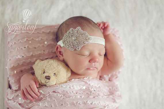 Sparkle Couture Rhinestone Infant Headband-rhinestone, boutique, infant, baby, girl, newborn, couture, sparkle, bling, headband, halo, wedding, photo, prop
