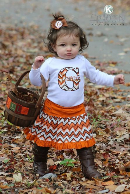 Fall Chevron Personalized Onesie, Skirt & Headnband Outfit Set-brown, orange, fall, thanksgiving, skirt, outfit, boutique, clothing, outfit, set, personalized
