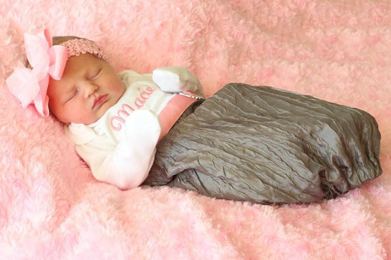 Newborn Girl Take Home Outfit Personalized Layette Gown & Shabby Chic Headband-grey, gray, and, pink, hospital, gown, outfit, set, take me home