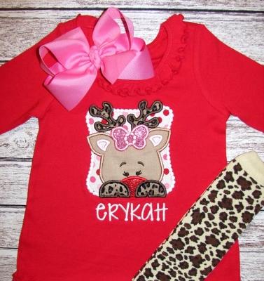 Personalized Cutie Reindeer Outfit Set-reindeer