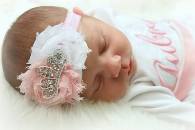 Shabby Pink & White Tiara Crown Infant Headband-newborn, infant, baby, girl, crown, tiara, princess, headband, couture, baby pink, baby girl