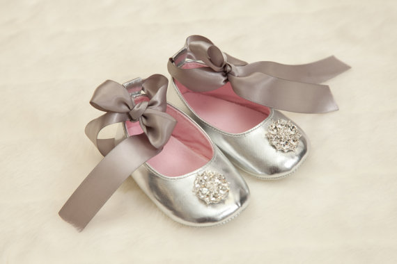 Baby Girl Silver Shoes Silver Ribbon Tie Shoes With Rhinestone-dressy, dress shoes, shoes, rhinestone, bling, silver, gray, grey, crib shoes, newborn, infant, baby, girl, boutique