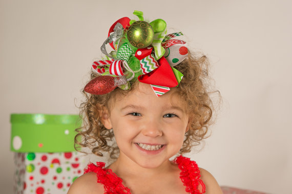 Cindy Lou Boutique Loopy Ornament Hair Bow-christmas, ornaments, red, green, grinch, funky, holiday, chevron, sparkle, grench, who, lights, lime