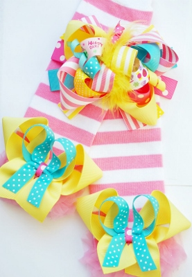 Happy Birthday Hair Bow & Matching Leggings Set with Bows-birthday, party, hair, bow, headband, infant, baby, toddler, big, girl, leggings, leg, warmers, arm, bows, stripes, colorful, hot, pink, yellow, and, turquoise, blue