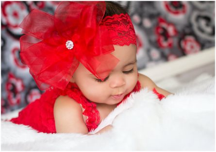 Red Double Layered Sheer Hair Bow on Lace Headband-chiffon, sheer, fancy, dressy, christmas, holiday, headband, hairbow, rhinestone, infant, baby, girl