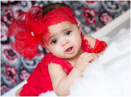 Red Double Layered Sheer Hair Bow on Lace Headband-chiffon, sheer, fancy, dressy, christmas, holiday, headband, hairbow, rhinestone, infant, baby, girl
