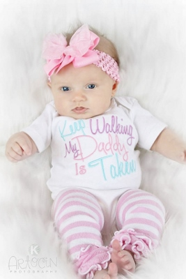 Keep Walking My Daddy Is Taken Embroidered Onesie-aqua, blue, lavemder, light, purple, and, pink, pastel, embroidered, shirt, onesie, daddy