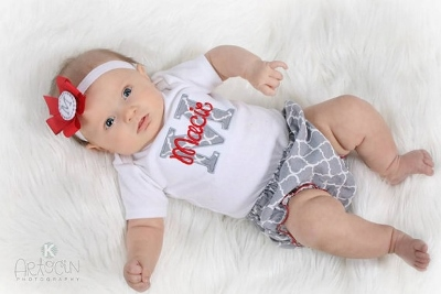 Red & Gray 3pc. Quartrefoil Infant Outfit Set-red, and, grey, gray, onesie, diaper, cover, outfit, set, headband, newborn, infant, baby, girl, personalized