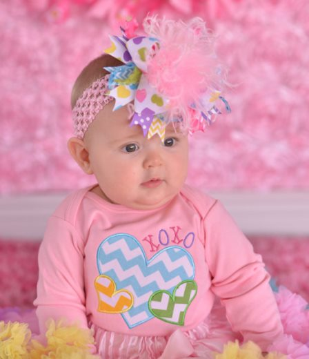 Pastel Conversation Hearts Over the Top Hair Bow Headband-colorful, valentine, valentines, day, valentine's, love, hairbow, hair, bow, headband, infant, baby, girl, feathers, large