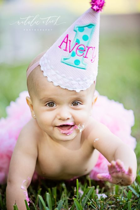 Aqua & Hot Pink Sparkle Pom First Birthday Party Hat-pink, hot pink, aqua, stripes, polka, dots, 1st, birthday, party, hat, infant, baby, girl, girls