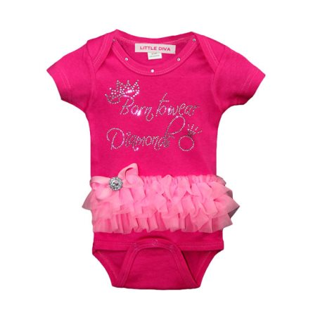 Born to Wear Diamonds Hot Pink Bling Tutu Onesie-hot pink, pink, outfit, boutique, clothing, rhinestone, tutu, onesie, infant, newborn, baby, girl