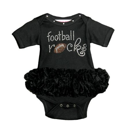 Football Rocks Black Bling Tutu Onesie-football, outfit, infant, baby, girl, newborn, boutique, outfit, sports, rhinestone, bling