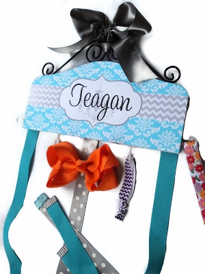 Damask Chevron & Gray Turquoise Headband Hair Bow Holder-turquoise, aqua, and, blue, grey, gray, chevron, damask, hairbow, hair, bow, holder, personalized