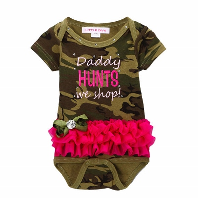 Daddy Hunts We Shop Hot Pink & Camo Bling Tutu Onesie-camouflage, camo, hot pink, newborn, infant, baby, girl, onesie, outfut, set, bling, rhinestone, hunting, daddy, hunter, green, romper, ruffle