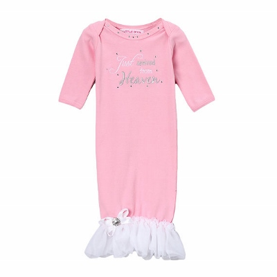 Just Arrived From Heaven Pink Newborn Layette Gown with White Ruffles-heaven, newborn, infant, baby, girl, boutique, take home gown, couture, bling, ruffle, rhinestone, hospital gown, take me home