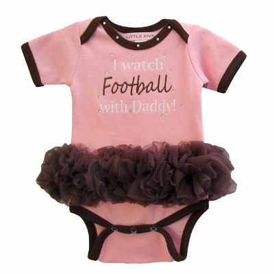 I Watch Football with Daddy Pink & Brown Tutu Onesie-ruffles, onesie, bodysuit, bling, infant, baby, girl, boutique outfit, football, sports, daddy, couture, light, pink, brown