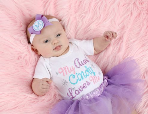 Personalized My Aunt Loves Me Onesie-my aunt love me, aunt, personalized, shower gift, baby shower, newborn, infant, baby, girl, boutique,custom embroidery, pastel