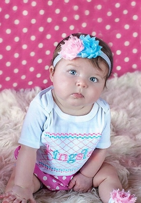 Pink & Blue 3pc. Polka Dot Infant Outfit Set-auqa, blue, and, pink, polka, dots, diaper, cover, bloomer, bloomers, outfit, set, headband, flower, spring, infant, baby, girl