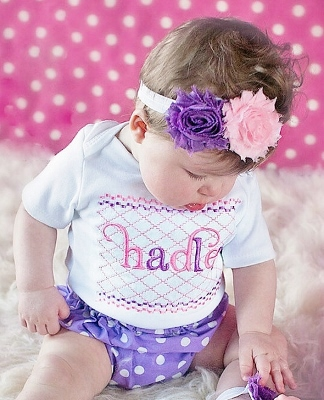 Pink & Purple 3pc. Polka Dot Infant Outfit Set-purple, lavender, light, pink, and, personalized, diaper, cover, bloomer, bloomers, polka, dots, outfit, set, headband, flower, easter, spring
