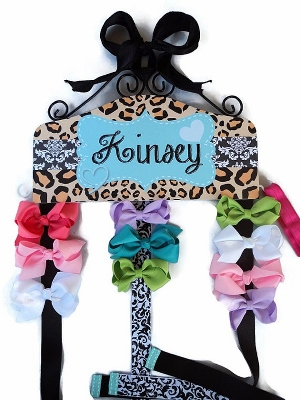 Animal Print Black Damask Turquoise Personalized Hair Bow Holder-leopard, cheetah, animal, print, damask, hairbow, hair, bow, holder, hanger, aqua, blue, and, black, personalized, custom