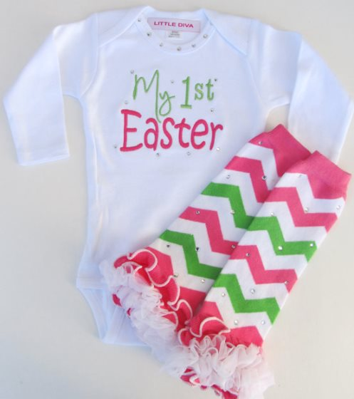 My First Easter Pink & Green Boutique Outfit Set-My 1st Easter White Bodysuit with Hot Pink and Lime Chevron Leg Warmers baby girls 1st Easter, chevron leg warmers, baby girl, baby gift, infant baby girl, boutique, bling, outfit