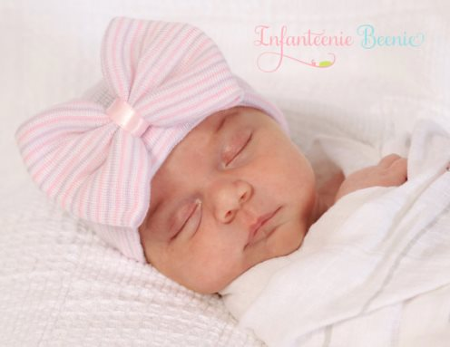 Lavender & Pink Striped Bow Newborn Boutique Hospital Hat-infanteenie beenie, infant, baby, girl, boutique, hospital hat, newborn, lavender, pink