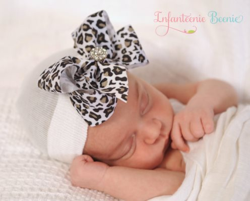 Leopard Bling Bow Newborn Boutique Hospital Hat-cheetah, animal, print, infant, baby, girl, newborn, hospital hat, take home, infanteenie beenie, couture, boutique hat, bow hat