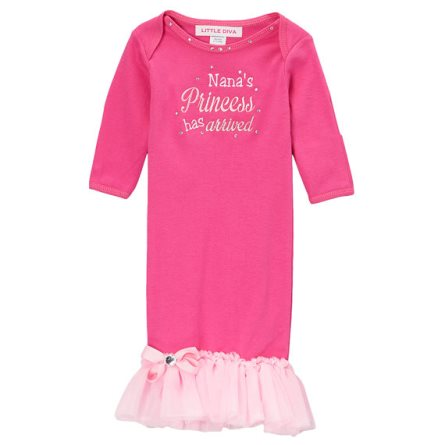 Nanas Princess Has Arrived Layette Ruffle Bling Gown-pink, light, hot, newborn, gown, ruffle, infant, baby, girl, rhinestone, bling, grandma, nana, princess