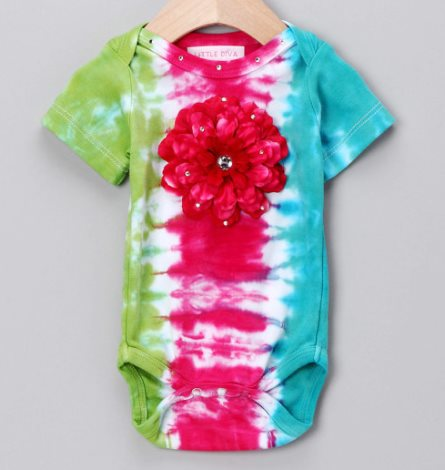 Hot Pink, Lime & Turquoise Tie-Dye Bodysuit with Hot Pink Peony Flower-hot pink, turquoise, infant, baby, girl, boutique, onesie