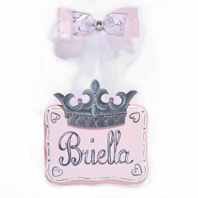 If the Tiara Fits Hand Painted 8 x 10 Personalized Sign-crown, tiara, princess, light, pink, gray, room decor, personalized, name, sign, hand painted, handpainted, boutique, bling, rhinestone, custom, hearts