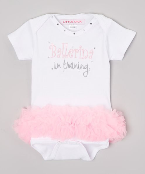 Ballerina In Training Tutu Onesie with Matching Ballet Leg Warmers-bling, ballet, ballerina, infant, baby, girl, boutique, clothing, light, pink, ruffle, rhinestone, bling