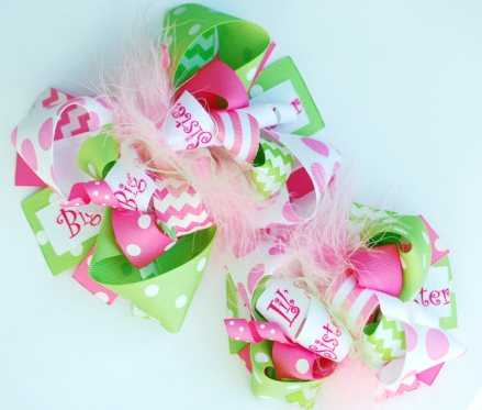 Big Sis Little Sis Custom Matching Hair Bows Sister Set-big sister, little sister, hot pink, green, summer, infant, baby, girl, big, girls, hair bow, bows, set, toddler