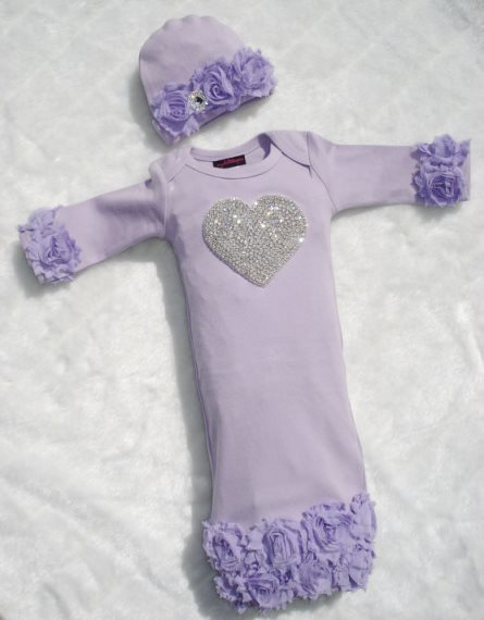 Lavender Rhinestone Heart Shabby Chiffon Layette Gown & Hat Set-lavender, purple, newborn, infant, baby, girl, layette, gown, take home, take me home, hospital gown, outfit, boutique clothing, outfit, set, flower, chiffon, girly