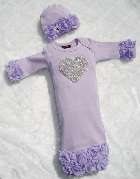 Lavender Rhinestone Heart Shabby Chiffon Layette Gown & Hat Set