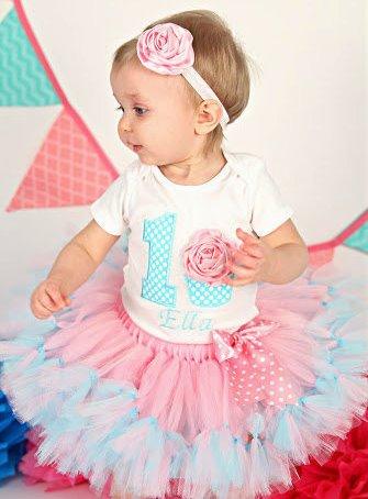 Pink & Aqua Cupcake First Birthday Party Tutu Outfit Set-3D Cupcake 1st Birthday Tutu Outfit, Cake Smash Outfit, Pink and Aqua, birthday party, cupcake, cotton candy, party outfit, tutu, 1st, first, birthday