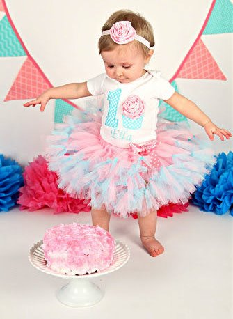 Pink & Aqua Cupcake First Birthday Party Tutu Outfit Set-3D Cupcake 1st Birthday Tutu Outfit, Cake Smash Outfit, Pink and Aqua, birthday party, cupcake, cotton candy, party outfit, tutu, 1st, first, birthday
